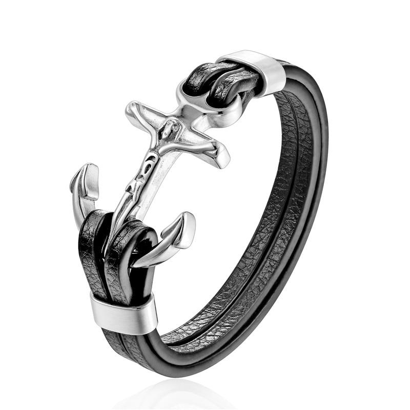 YIZIZAI Genuine Leather Anchor Bracelet Men Lion Double Wolf Shackles Stainless Steel Charm Bracelets Wristband Fashion Jewelry