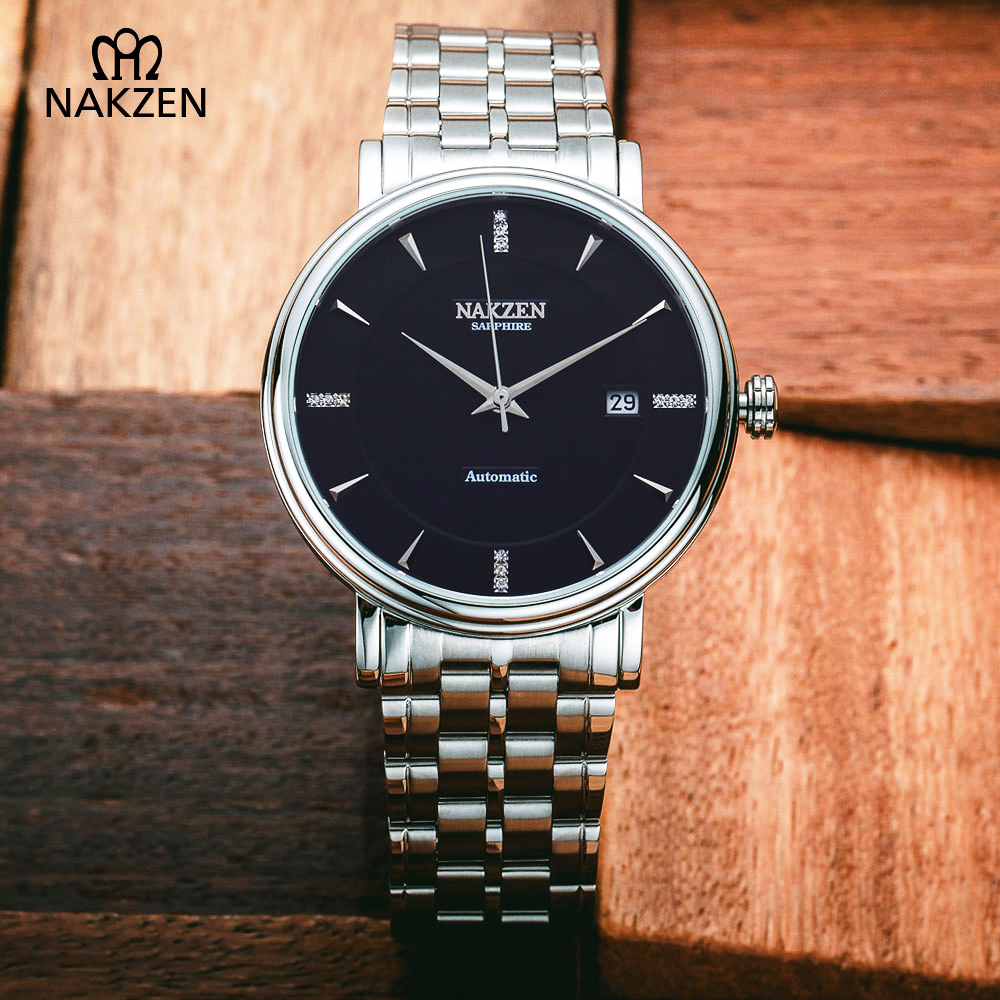 NAKZEN Men Quality Mechanical Watch Gents Full Steel Business Dress Clock Male Fashion Saphhire Automatic Waterproof 50M Watches nakzen men s automatic waterproof 50m watch man steel business dress mechanical clock male luxury sapphire diamond fashion watch