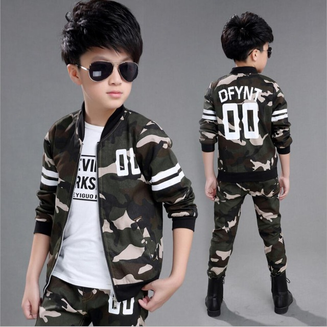 05d26c03 2018 Spring Fall Little Boys Fashion Camouflage Clothing Set Baby Kid  Military Uniform Clothes Children's Sport Suit 2 Pcs
