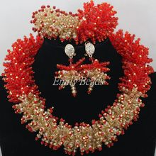 Glamorous Red/Gold Crystal Beads Jewelry Set Nigerian Wedding Costume African Beads Bridal Jewelry Set Free Shipping AMJ927