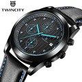 Estilo de la manera twincity mens relojes de marca de cuero de lujo del cuarzo reloj cronógrafo luminoso deporte de los hombres reloj de pulsera reloj hombre