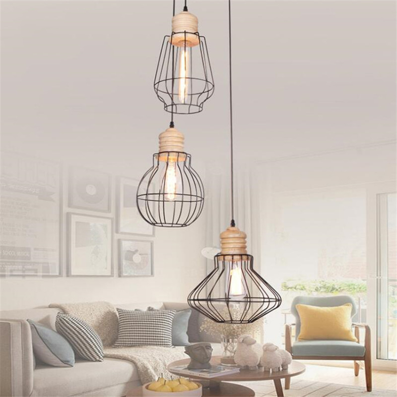 Nordic Style Simple Wooden Dining Room Pendant Light Iron Cage Restaurant Light Modern Cafe Lights Balcony Light Free Shipping nordic wrought iron simple modern pendant lamp with led bulb dinning room light cafe lamp e27 110v 220v free shipping