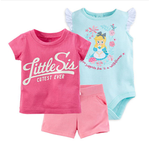 Free ship baby girl 3 pcs set , kids bebes T-shirt rompers short , pinks little sia cutest ever The letter printing(China)