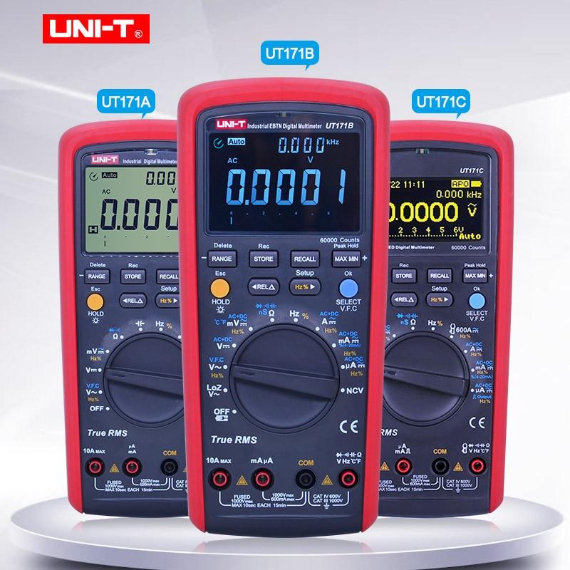 UNI-T verdadeiro industrial rms multímetro digital ut171a ut171b ut171c voltímetro amperímetro ohmímetro medidor elétrico