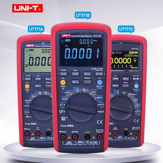 UNI T przemysłowe true rms multimetr cyfrowy UT171A UT171B UT171C woltomierz amperomierz omomierz miernik elektryczny