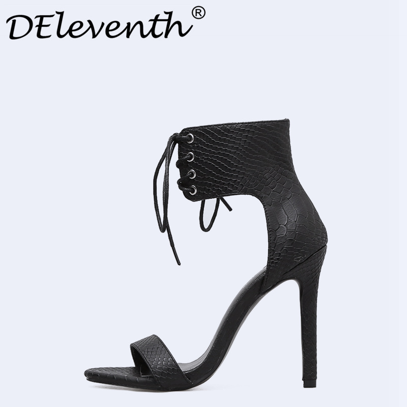 DEleventh Summer High Heels Sandals Sexy Peep Toe Cross-Strap Shoes Ladies Elegant Pump Dress Sandalias Mujer Snakeskin White 40 sexy clear pvc nymphette sandals 2017 cross strap summer ladies shoes woman lace up gladiator sandals high brand sandalias mujer