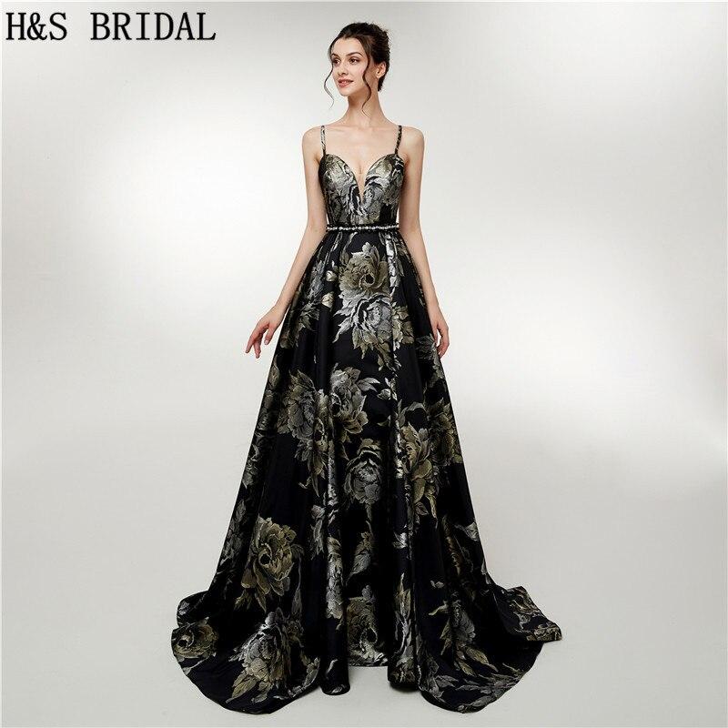 H & S mariée Vintage longues robes de bal noir fleur imprimé robes de bal de soirée sans manches élégantes robes formelles