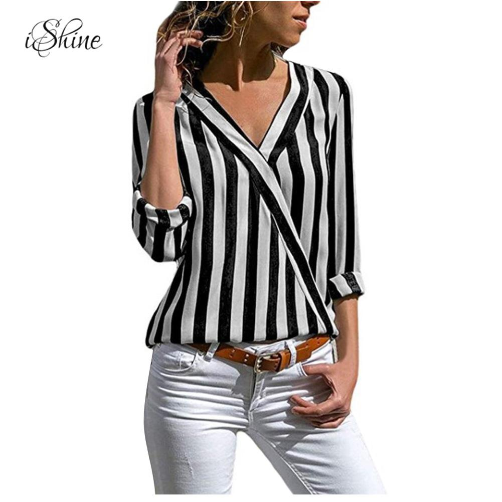 <font><b>2018</b></font> <font><b>Autumn</b></font> <font><b>Sexy</b></font> V Neck Women Shirts Blouse Color Block Striped Long Sleeve Irregular Work Office Blouse Shirt Camisas Mujer image