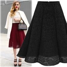 2017 New Spring Summer Women Skirts Pleat Elastic High Waist Lace hollow Midi Skirts Women Umbrella Circle A Skirt Female