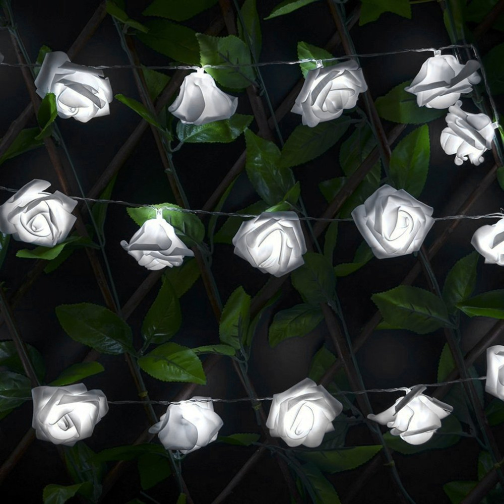 Wedding white Roses LED String Lights 1.2m 10 LEDs Best Gift for Birthday Party Events Christmas Decoration Lightings Casamento