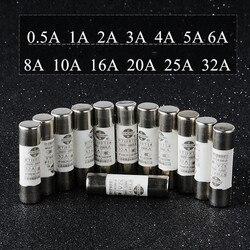 Fusible cylindrique en céramique, 20 pièces/lot, tube à basse tension 0,5 a-32a, 10mm x 38mm, fournitures d'équipement électrique