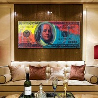 Graffiti Art 100 Bill Cash American Currency Money Benjamin Franklin Dollar Money Pop Art Wall Art Deco Print Poster for Office