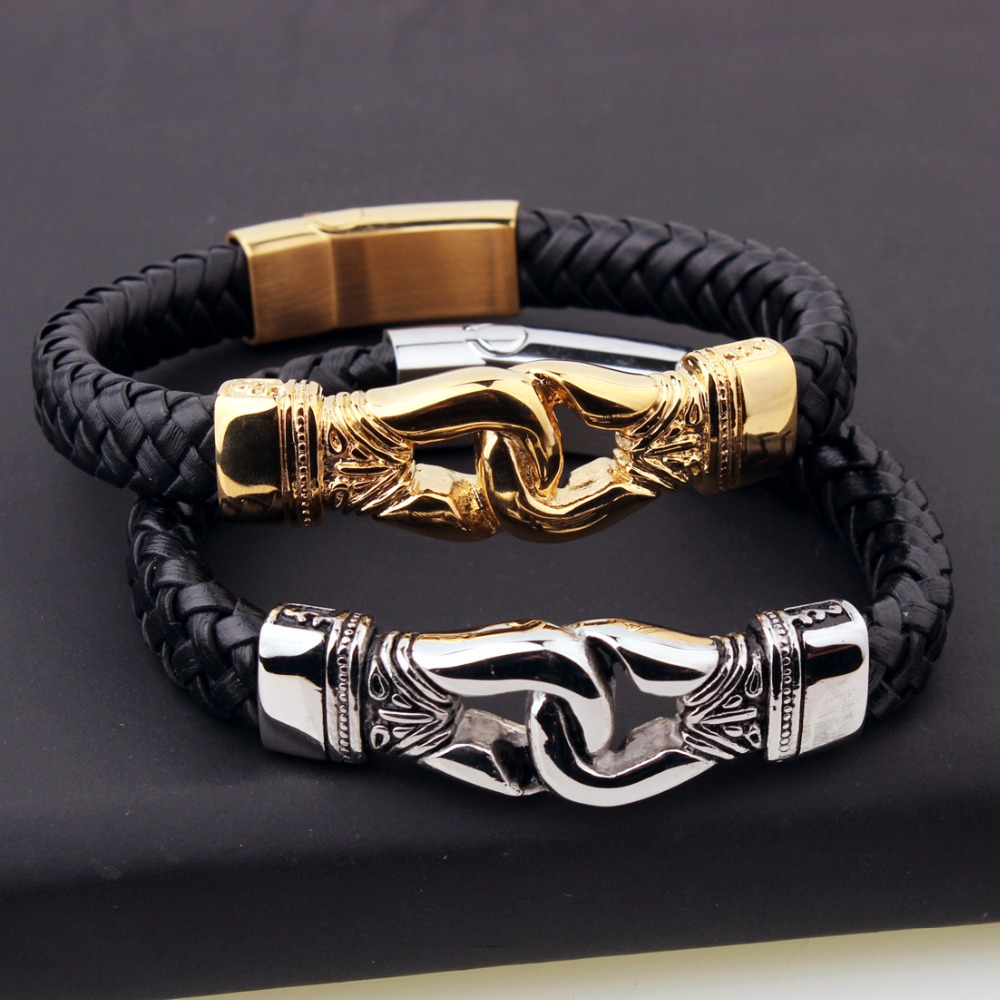 Genuine Black Leather Chain Bracelet Punk Men's Hip-Hop Style Cuff Jewelry Silver Gold Color Stainless Steel Handcuffs 8.66″