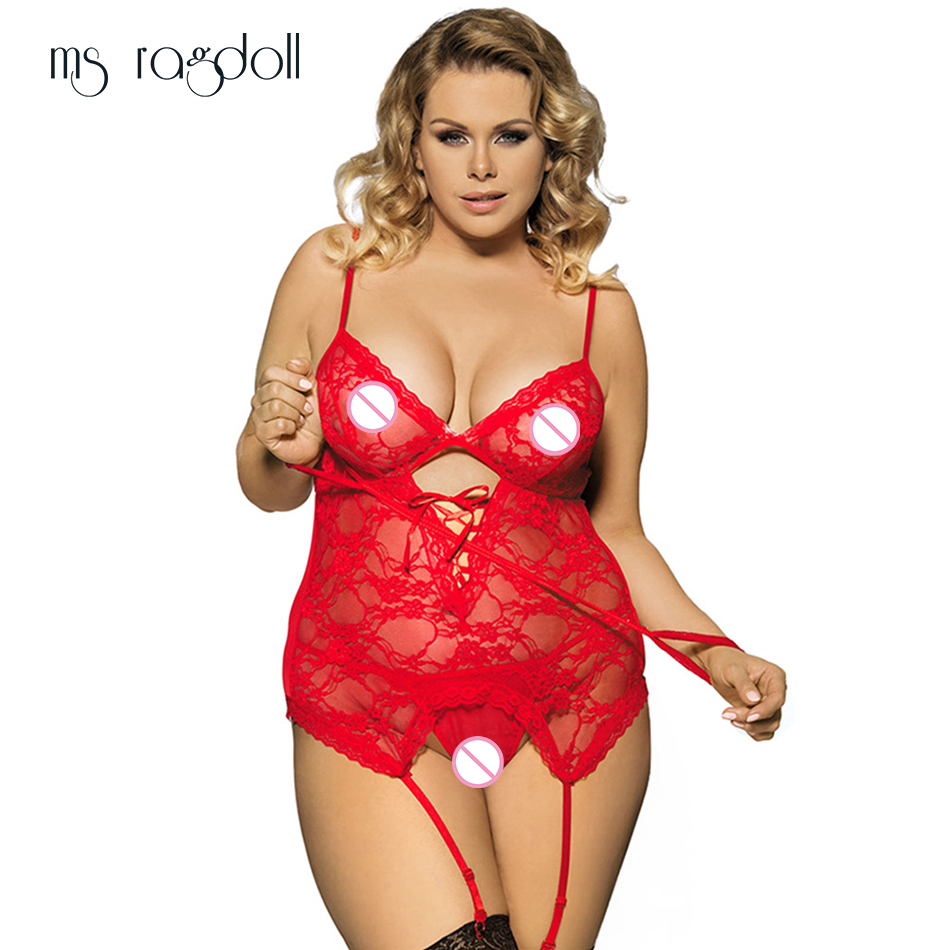 ms ragdoll <font><b>Sexy</b></font> Lingerie <font><b>6XL</b></font> Plus Size Underwear Handcuffs G-string Erotic SM Cosplay <font><b>Costume</b></font> <font><b>Sexy</b></font> Nightclubs Lace Clothes Dress image