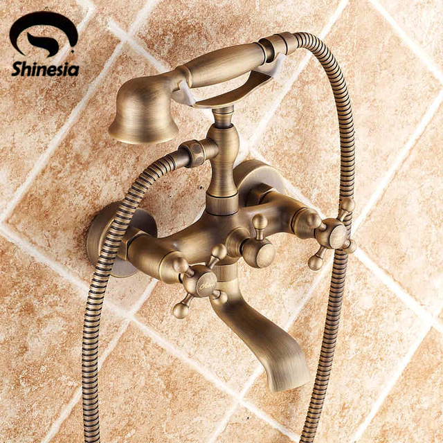 Antique Brass Wall Mount Telephone Euro Bath Tub Faucet  Mixer Tap w/ Handheld Spray Shower