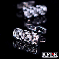KFLK 럭셔리 셔츠 커프스 남성 브랜드 커프스 버튼 오스트리아 블랙 화이트 크리스탈 커프스 링크 높은 품질의 보석