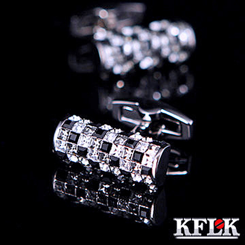KFLK Luxury shirt cufflinks for men's Brand cuff buttons Austria Black and White Crystal cuff links High Quality Jewelry