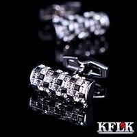 KFLK için Lüks gömlek kol düğmeleri erkek Marka manşet düğmeleri Avusturya Siyah ve Beyaz Kristal manşet bağlantılar Yüksek Kalite Takı