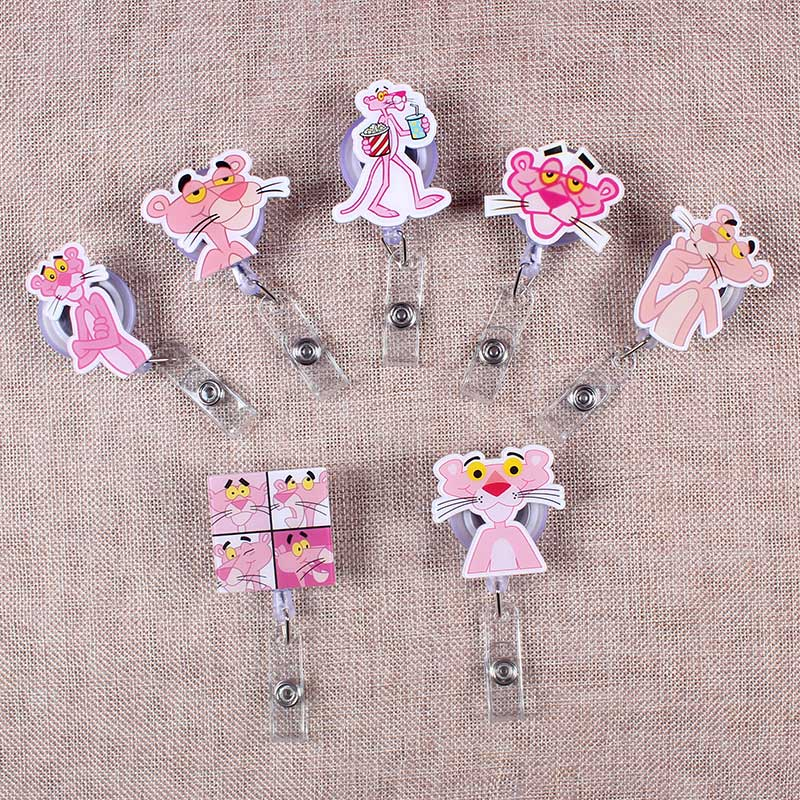 7 Styles Pink Funny Panther Retractable Creative Badge Reel Students Nurses Exhibition Enfermera Name Card Chest PVC Card Holder