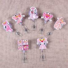 7 Styles Pink Funny Panther Retractable Creative Badge Reel Students Nurses Exhibition Enfermera Name Card Chest PVC Holder