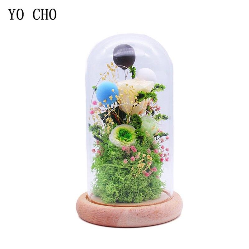 YO CHO fleurs séchées Prince couverture en verre frais préservé Rose mousse fleur pour fête de mariage maison hôtel décoration cadeau pour femme