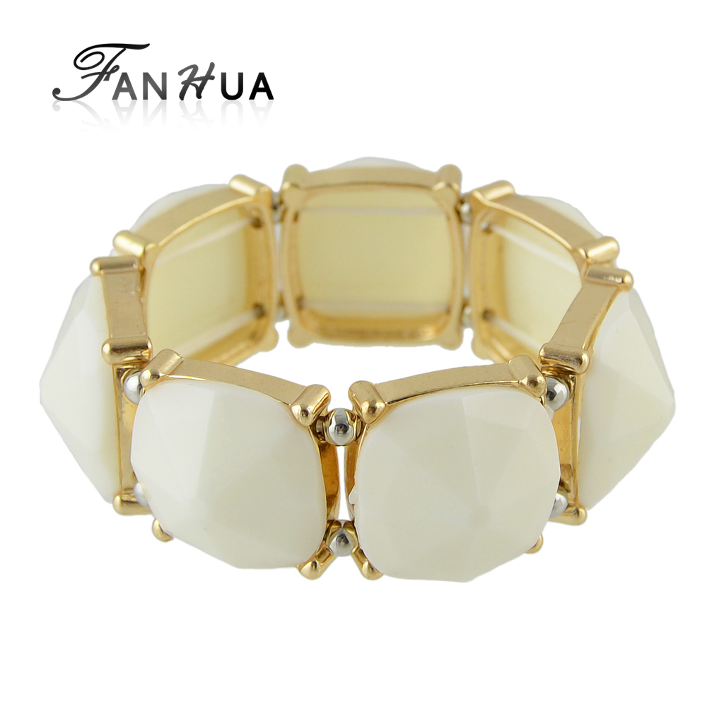 Fanhua Elastic Bangles Blue White Color Jewelry Bead Bracelets For Women  Gorjuss Girls(china (