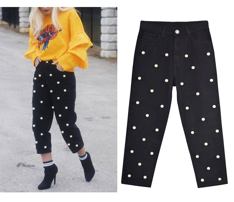 2017 Women`s high waist straight loose wide leg cowboy broken pants pendant big pearl lady pants street wild (5)