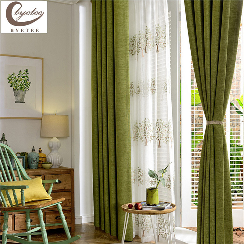 com buy modern cotton linen green window curtains for living room