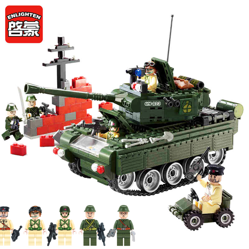 Enlighten 466pcs Military Tank Educational Building Blocks Toys For Children Gifts Compatible With Legoings Lepine brinquedos enlighten 112 military army battle cruisers ship building block 970pcs educational toys for children compatible legoe