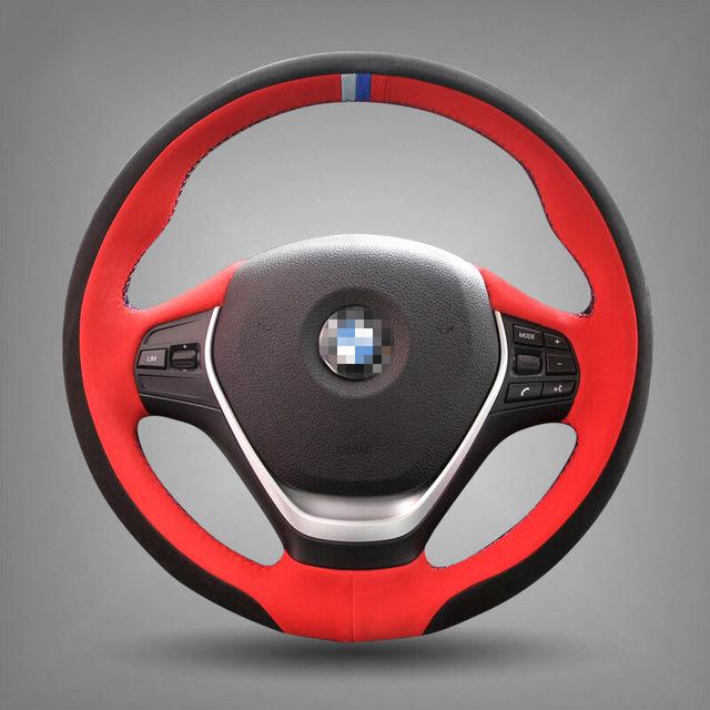 Mão-costurado Preto Tampa Da Roda de Direcção Do Carro de Couro para BMW 320d 320i 328i F30 F20