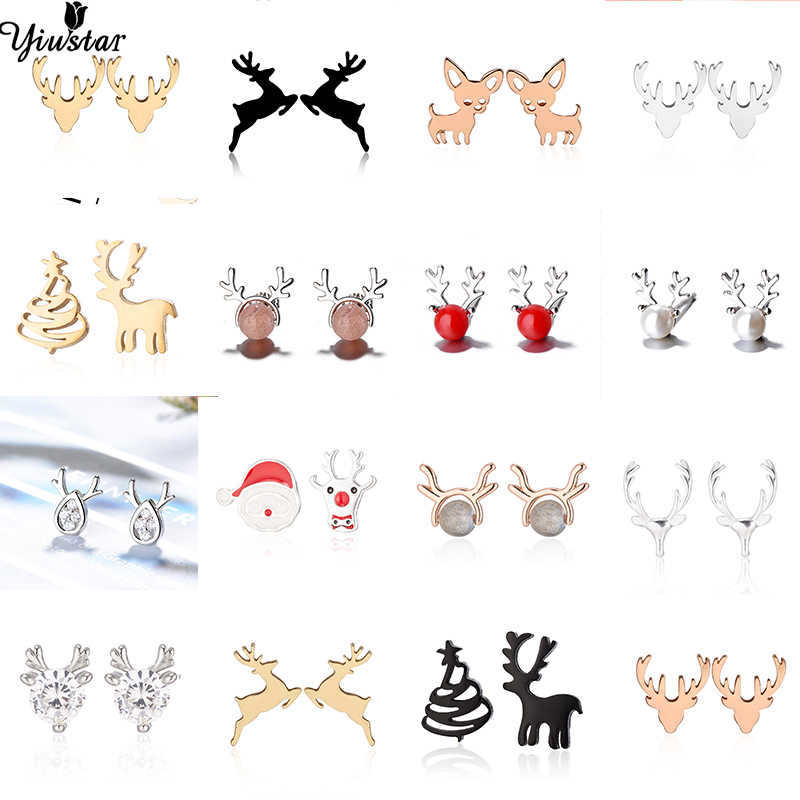 Yiustar Cute Animal Earrings Tiny Deer Stud Earrings Charms Stainless Steel Women Ear Studs Jewelry Christmas New Year Kids Gift