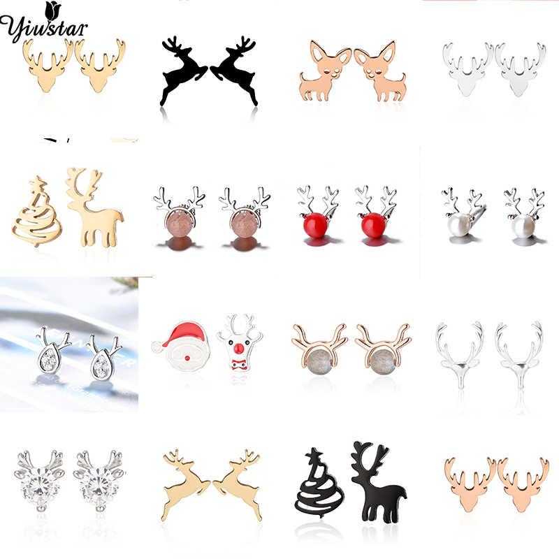 Yiustar Animal Bonito Brincos Pequenos Brincos Do Parafuso Prisioneiro Veados Mulheres Pregos Orelha de Aço Inoxidável Encantos Jóias Caçoa o Presente de Natal de Ano Novo
