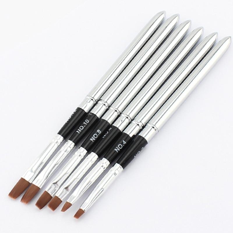 USA Stock 6pcs Nail Gel Polish Brush Pen Nail Tools Mixed Size ...