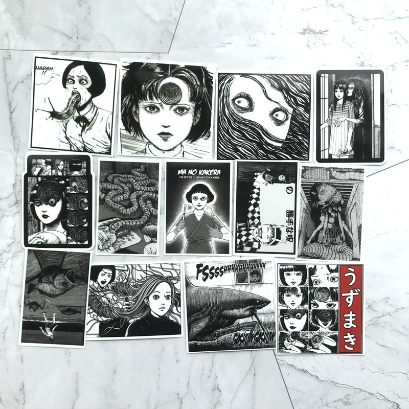 Image 4 - 56Pcs Horror comics Stickers Japanese ITO leap second Decal For Snowboard Laptop Luggage Car Fridge Car Styling Vinyl Home-in Stickers from Toys & Hobbies