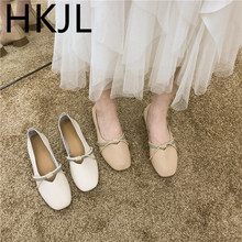 HKJL Flat bottom shallow single shoes female 2019 summer new Korean version of the wild low with peas B937