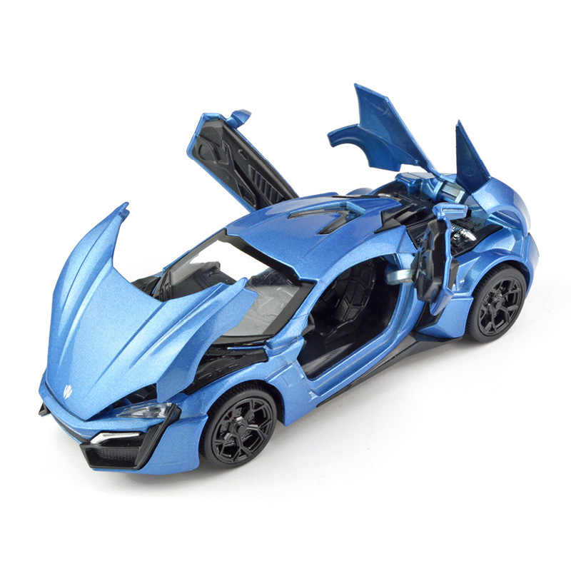 1:32 Skala Simulasi Cepat Lykan Super Balap Mobil Model Marah Diecast Kendaraan Mainan dengan Suara Paduan Auto Mobil Sport untuk anak Laki-laki