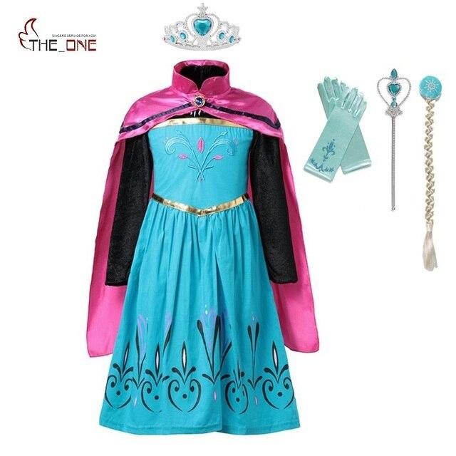 MUABABY Menina Elsa Coroação Vestido de Roupas Meninas Flor de Verão de Algodão de Neve Rainha Elza Anna Princesa Traje Do Partido Cosplay