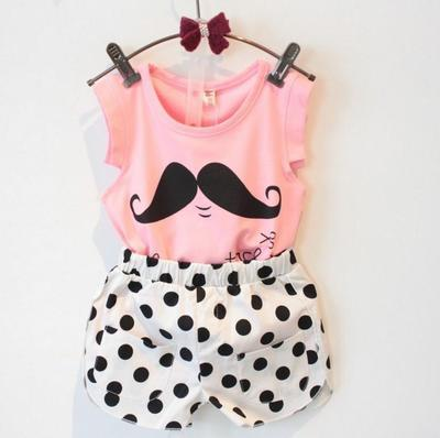 Kids clothes girls 2017 summer children clothing sets paragraph cute mustache sleeveless t-shirt + shorts suit baby girl clothes