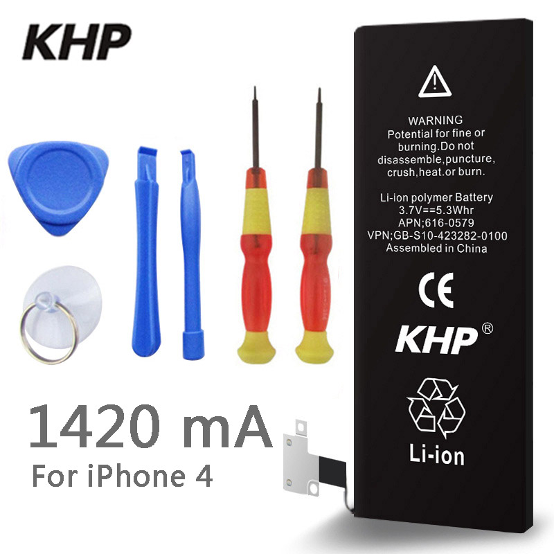 100% Original Brand KHP Phone Battery For iphone 4 Real Capacity 1420mAh With Machine Tools Kit Mobile Batteries free shipping