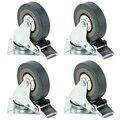Set di Heavy Duty 50x17 millimetri di Gomma Girevole di Ricino Ruote Trolley Caster Freno 40 KGModel: 4 con freno HL-5