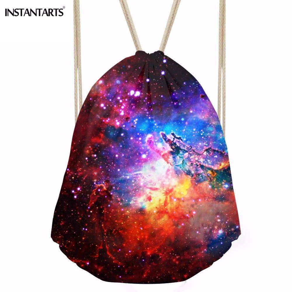 INSTANTARTS 3D Galaxy Star Print Men's Casual Drawstring Bag Universe Ball Softback Backpack Shoes String Casual Bag Gym Sack