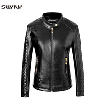 SWYIVY Old Women Leather Jackets Stand Collar 5XL Slim 2018 Winter New Female Short Coats Outwear Woman Jacket Coat Red