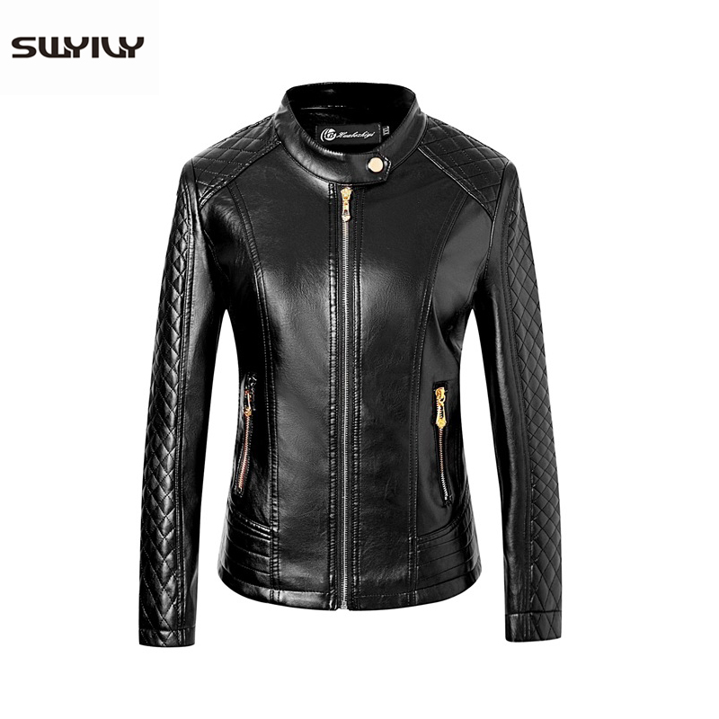 SWYIVY Old Women   Leather   Jackets Stand Collar 5XL Slim 2018 Winter New Female Short Coats Outwear Woman   Leather   Jacket Coat Red