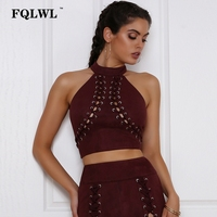 FQLWL Suede Tank Top Women Halter Sleeveless Cross Lace Up Back Zipper Bandage Tube Top Sexy