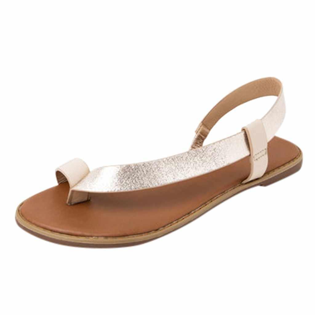 Sagace Mùa Hè Giày Sandal Đế Bằng Nữ Giày Nữ Plus Size 35-43 Thường Ngày Peep Toe Giày Nữ Trơn Trượt Trên Dây Thun Co Giãn giải Trí Chắc Chắn Giày