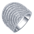 Hot Sale Unique Fashion Luxury Women Net Shape White Gold Plated AAA Zircon Engagement Weddding bijoux Rings Fine Jewelry