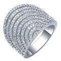 Venta caliente de Moda Único de Lujo Mujeres Net Forma Oro Blanco Plateado AAA Circón Compromiso Weddding bijoux Anillos de Joyería Fina