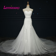 New Arrival Wedding Dresses 2017 Vestido De Noiva Elegant Beading Modern Sexy Mermaid Sleeveless Appliques Lace Robe de Mariee