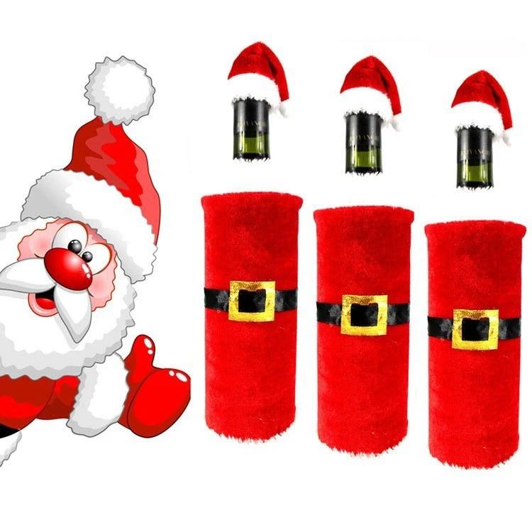 ZLLOO Copri-Tappo per Bottiglia di Vino di Natale Cappello con Decorazione per Bottiglia di Barba Bianca per Decorazioni Natalizie 3 Pezzi