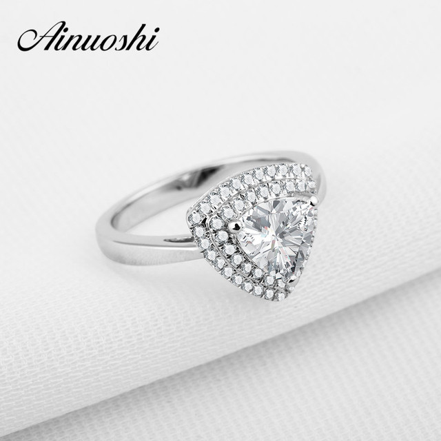 AINOUSHI Luxury Solid 925 Sterling Silver Triangle Shaped Engagement Ring Sona 1 Carat Halo Wedding